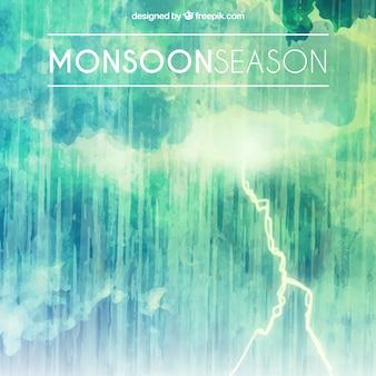 Composition de la saison de la mousson aquarelle