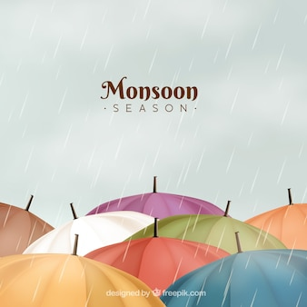 Composition de saison de mousson classique avec un design réaliste