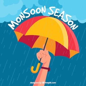 Composition de la saison de la mousson avec un design plat