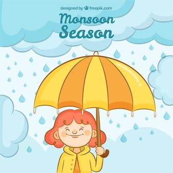 Composition de saison de mousson dessinés à la main