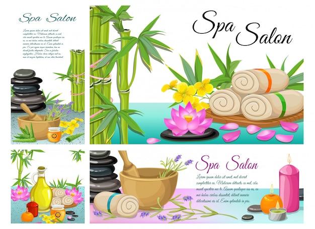Composition de salon de spa de dessin animé avec des pierres serviettes en bambou fleur de lotus mortier arôme bougies aloe vera huile d'olive naturelle