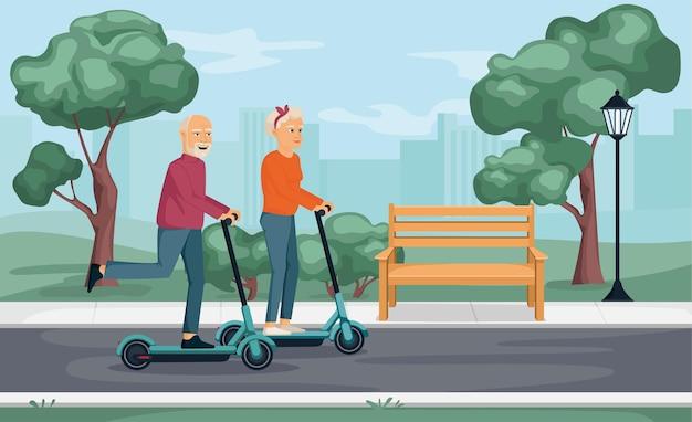 Composition de scooter pour personnes âgées avec paysage de parc urbain en plein air avec paysage urbain