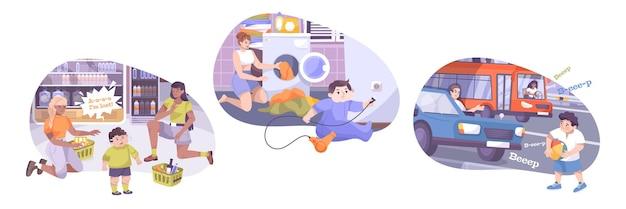 Composition de sécurité des enfants avec des symboles d'électricité et de trafic à plat