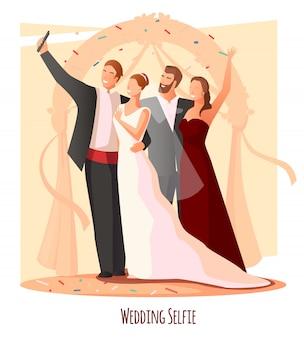 Composition de selfie de fête de mariage