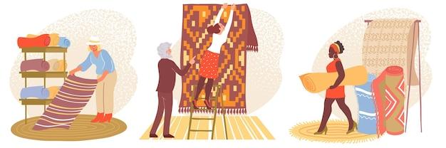 Composition sertie de clients achetant des tapis et de personnes disposant de marchandises