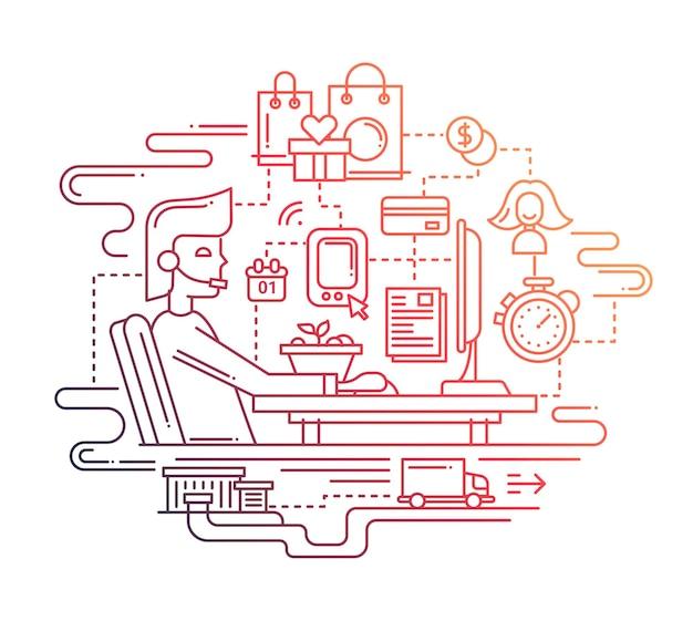 Composition de service de livraison design plat ligne moderne avec poste de travail à domicile ordinateur
