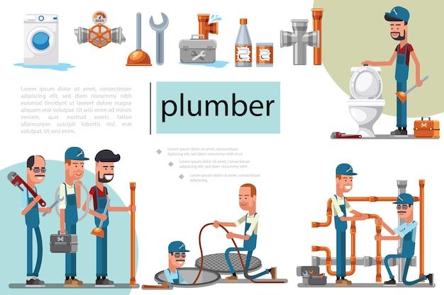 Composition de service de plomberie plate