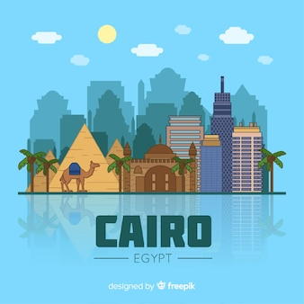Composition de skyline du caire avec un design plat