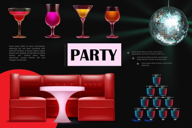 Composition de soirée dansante réaliste avec des verres de cocktails colorés, des boissons, une table de canapé rouge et une boule disco pétillante
