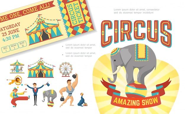 Composition de spectacle de cirque plat avec des animaux entraînés effectuant des tours tente d'homme fort jonglant avec billet de carrousel de magicien clown
