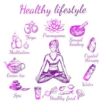 Composition de style de vie de croquis de yoga