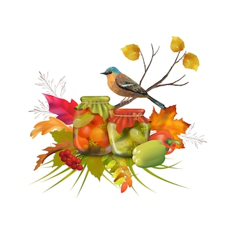 Composition de thanksgiving avec des conserves maison
