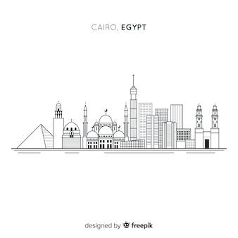 Composition des toits du caire avec un style linéaire