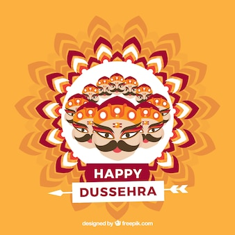 Composition traditionnelle de dussehra avec un design plat