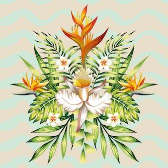 Composition de vacances d'été miroir de feuilles et de fleurs tropicales