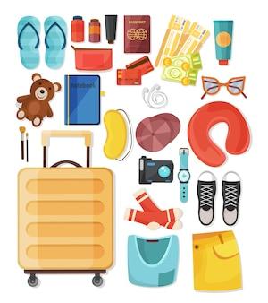 Composition de valise avec un ensemble de griffonnages isolés avec des vêtements personnels et des accessoires d'illustration touristique