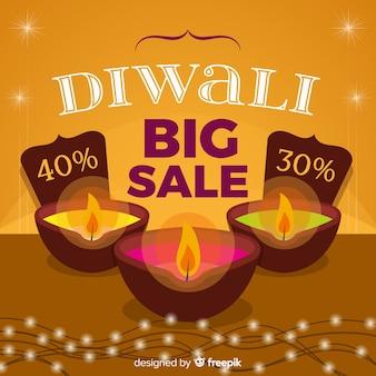 Composition de vente colorée diwali avec un design plat