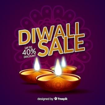 Composition de vente diwali avec un design réaliste