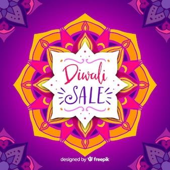 Composition de vente diwali dessiné main coloré