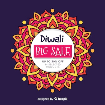Composition de vente diwali dessinée à la main moderne