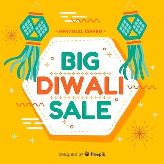 Composition de vente diwali moderne avec un design plat