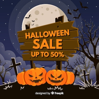 Composition de vente d'halloween au design plat