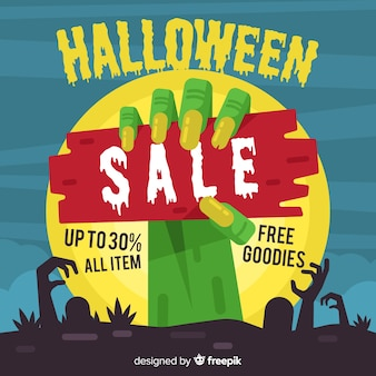 Composition de vente d'halloween au design plat