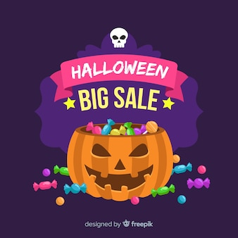 Composition de vente halloween originale avec un design plat