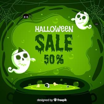 Composition de vente halloween originale avec un design plat