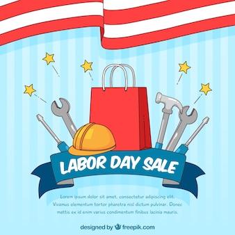 Composition de vente de jour de travail dessiné main