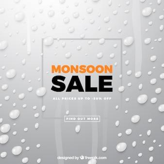 Composition de vente de mousson avec un design réaliste