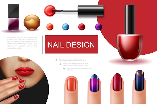 Composition de vernis à ongles réaliste avec pinceau bouteilles colorées de laque et doigts féminins avec une belle manucure