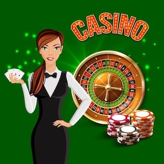 Composition verte réaliste de casino de dessin animé avec le croupier de fille et la roulette russe derrière elle