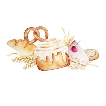 Composition de viennoiseries, pains et petits pains. pâtisseries à l'aquarelle.