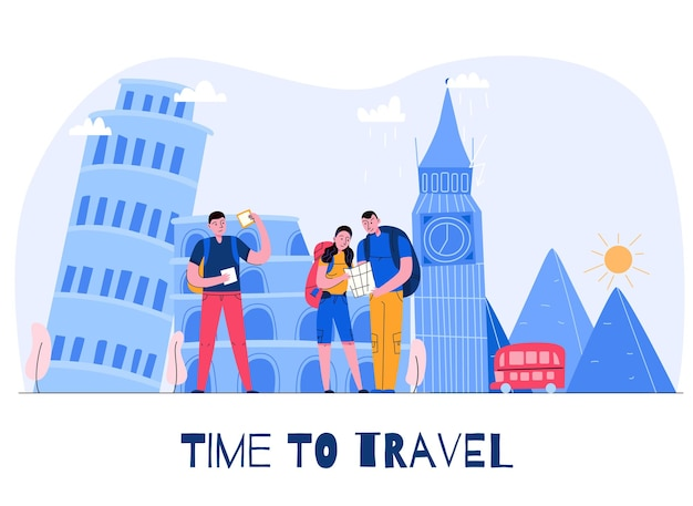 Composition de la ville touristique avec le temps de voyager titre et trois touristes en vacances illustration