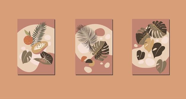 Compositions Abstraites Modernes Impressions Tropicales Minimalistes Contemporaines Vecteur Premium