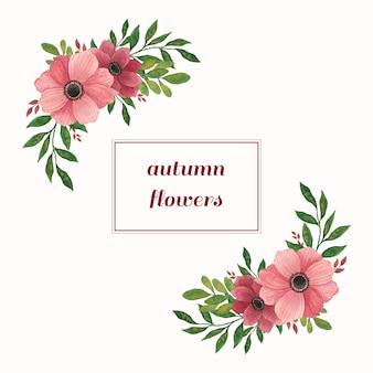 Compositions d'aquarelle avec des fleurs et des feuilles chaudes