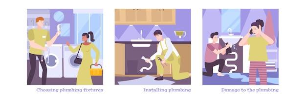Compositions de jeu de plomberie avec illustration de personnages humains plats