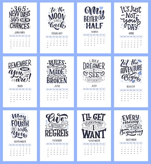 Compositions de lettrage de typographie moderne pour le calendrier de l'année 2021 avec des citations de motivation amusantes. illustrations dessinées à la main.