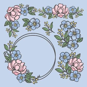 Compositions de rose collection florale de roses et de renoncules avec des feuilles dans des couronnes et des bouquets de cadre d'anneau pour l'impression des cliparts de dessin animé vector illustration set