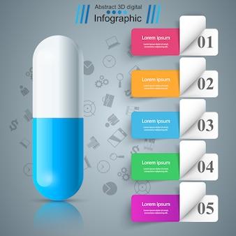 Comprimé de comprimé, infographie papier de pharmacologie