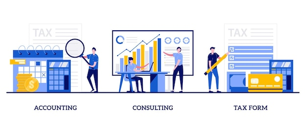 Comptabilité, conseil, concept de formulaire fiscal avec de petites personnes