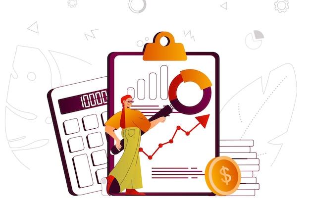 Le comptable du concept web d'audit financier analyse les statistiques financières de l'entreprise