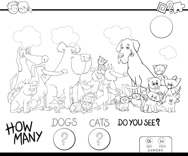 Comptage des chiens et des chats jeu couleur livre