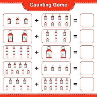 Comptage du jeu, compte le nombre de lanternes et écris le résultat. jeu éducatif pour enfants, feuille de travail imprimable, illustration