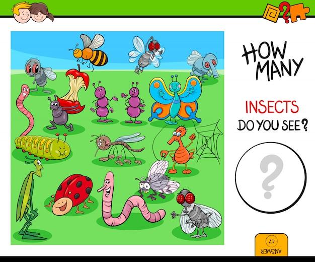 Comptage des insectes et des insectes jeu éducatif