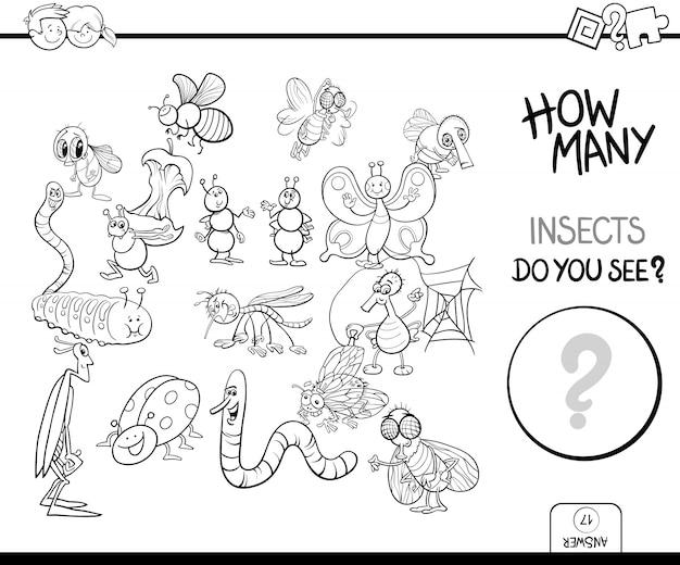 Comptage des insectes jeu livre de coloriage