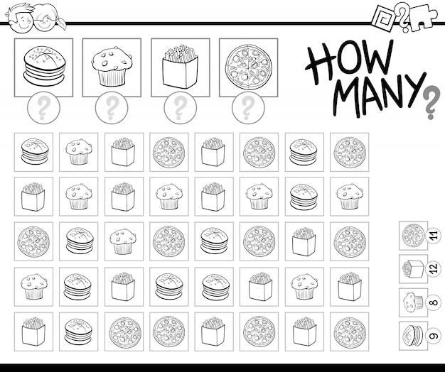 Comptage des objets alimentaires livre de coloriage