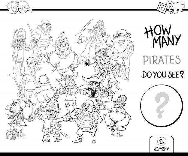 Comptage des pirates à colorier l'activité de la page