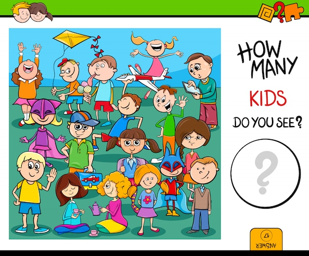 Comptage de la tâche éducative des personnages enfants